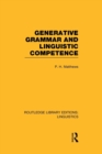 Image for Generative grammar and linguistic competence