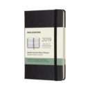 Image for 2019 Moleskine Black Vertical Pocket Weekly 12-month Diary Hard