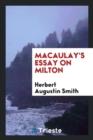 Image for Macaulay's Essay on Milton