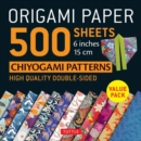 Image for Origami Paper 500 sheets Chiyogami Designs 6 inch 15cm : High-Quality Origami Sheets Printed with 12 Different Designs : Instructions for 8 Projects Included