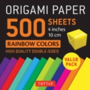 """Image for Origami Paper 500 sheets Rainbow Colors 4"""" (10 cm) : Tuttle Origami Paper: High-Quality Double-Sided Origami Sheets Printed with 12 Different Color Combinations"""