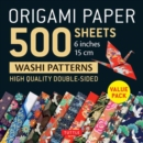 """Image for Origami Paper 500 sheets Japanese Washi Patterns 6"""" (15 cm) : High-Quality, Double-Sided Origami Sheets  with 12 Different Designs (Instructions for 6 Projects Included)"""
