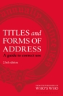 Image for Titles and forms of address  : a guide to correct use