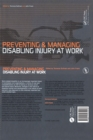 Image for Preventing and managing injury and disability at work