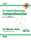 Image for New 11+ CEM 10-Minute Tests: Comprehension - Ages 10-11 Book 1 (with Online Edition)