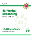 Image for New 11+ CEM 10-Minute Tests: Verbal Reasoning - Ages 8-9 (with Online Edition)