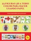 Image for Fichas imprimibles para preescolar (23 Figuras 3D a todo color para hacer usando papel) : Un regalo genial para que los ninos pasen horas de diversion haciendo manualidades con papel.