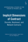 Image for Implicit dimensions of contract  : discrete, relational and network contracts