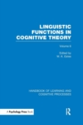 Image for Handbook of learning and cognitive processesVolume 6,: Linguistic functions in cognitive theory