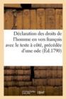 Image for Declaration Des Droits de l'Homme En Vers Francois Avec Le Texte A Cote, Precedee d'Une Ode
