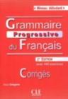 Image for Grammaire progressive du francais - Nouvelle edition : Corriges debutant