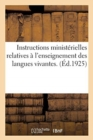 Image for Instructions Minist rielles Relatives   l'Enseignement Des Langues Vivantes.