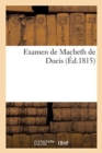 Image for Examen de Macbeth de Ducis