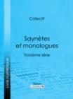 Image for Saynetes Et Monologues: Troisieme Serie.