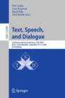 Image for Text, Speech, and Dialogue : 23rd International Conference, TSD 2020, Brno, Czech Republic, September 8-11, 2020, Proceedings