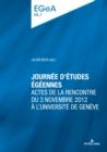 Image for Journée D'études Égéennes: Actes De La Rencontre Du 3 Novembre 2012 À l'Université De Genève