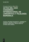 Image for Discursos inaugurales - Conferencias plenarias - Seccion 1: Fonetica y fonologia - Seccion 2: Morfologia - Indices: Indice de autores, Indice general