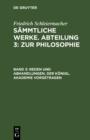 Image for Reden und Abhandlungen, der Konigl. Akademie vorgetragen