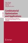 Image for Combinatorial Optimization and Applications: 8th International Conference, COCOA 2014, Wailea, Maui, HI, USA, December 19-21, 2014, Proceedings : 8881