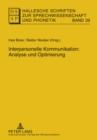 Image for Interpersonelle Kommunikation  : Analyse und Optimierung