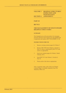 Image for Design Manual for Roads and Bridges : Vol. 3: Highway Structures: Inspection and Maintenance, Section 4: Assessment, Part 18 BD 79/13: The Management of Sub-standard Highway Structures