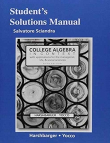 Image for Student's colutions manual for College algebra in context, Fifth edition, Ronald J. Harshbarger, Lisa Yocco