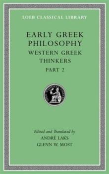 Image for Early Greek Philosophy, Volume V : Western Greek Thinkers, Part 2
