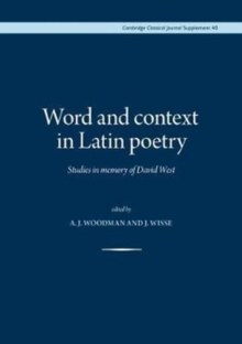 Image for Word and context in Latin poetry  : studies in memory of David West