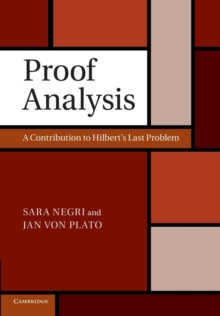 Image for Proof Analysis : A Contribution to Hilbert's Last Problem