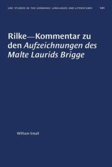 Image for Rilke-Kommentar Zu Den Aufzeichnungen Des Malte Laurids Brigge