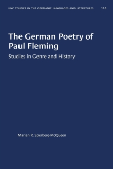 Image for The German Poetry of Paul Fleming : Studies in Genre and History