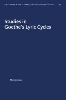 Image for Studies in Goethe's Lyric Cycles