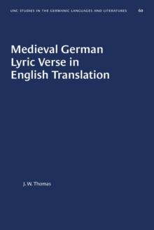 Image for Medieval German Lyric Verse in English Translation