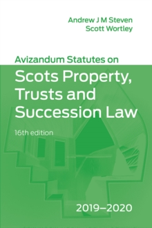 Image for Avizandum statutes on Scots property, trusts and succession law 2019-2020