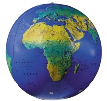 """Image for 12"""" Dark Blue Topographical Inflatable Globe"""