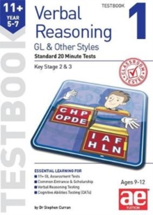 Image for 11+ Verbal Reasoning Year 5-7 GL & Other Styles Testbook 1 : Standard 20 Minute Tests